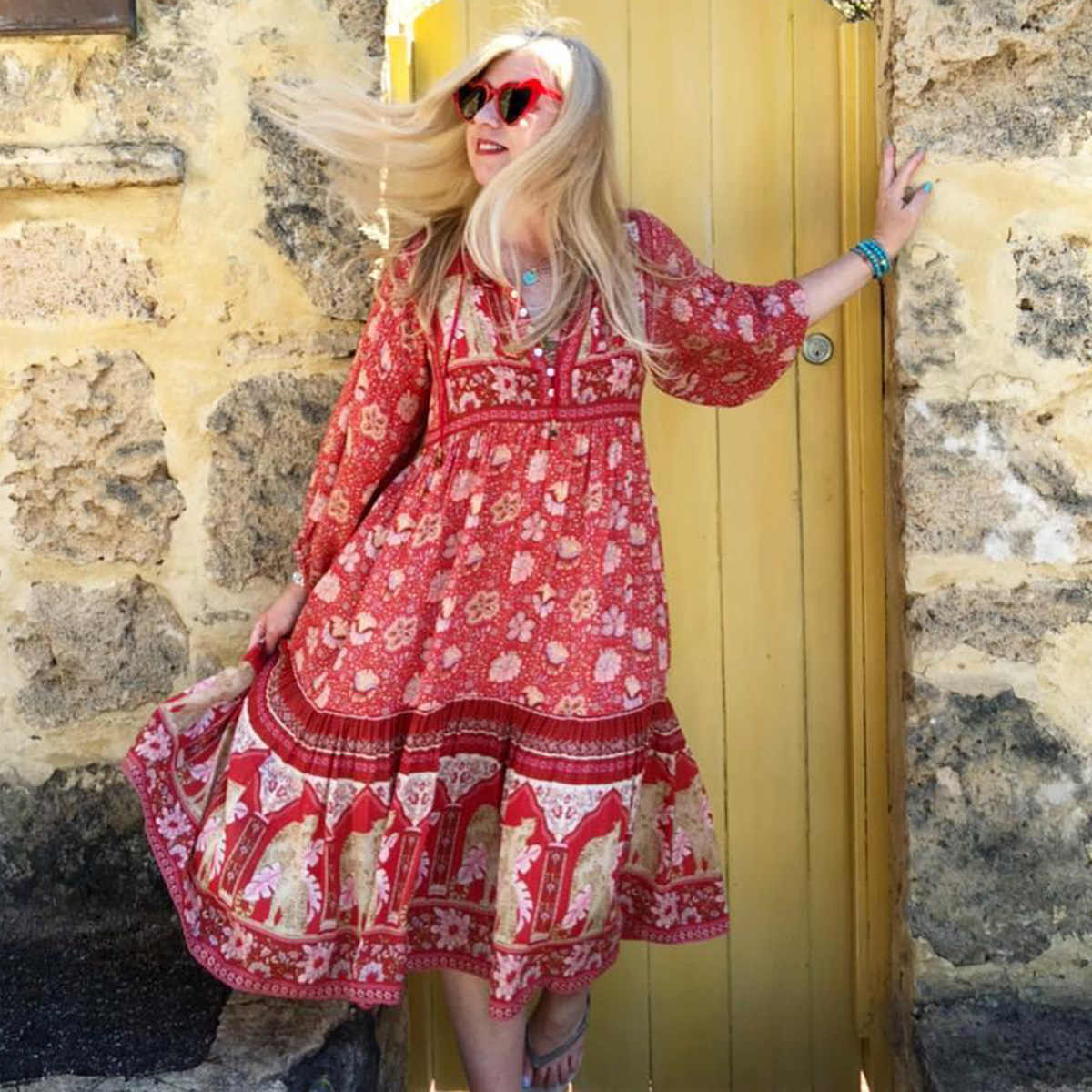 dcda3991a ... Jastie Summer Gypsy Floral Print Dress Red Poinciana Gown Dresses  V-Neck Button Women Dresses ...