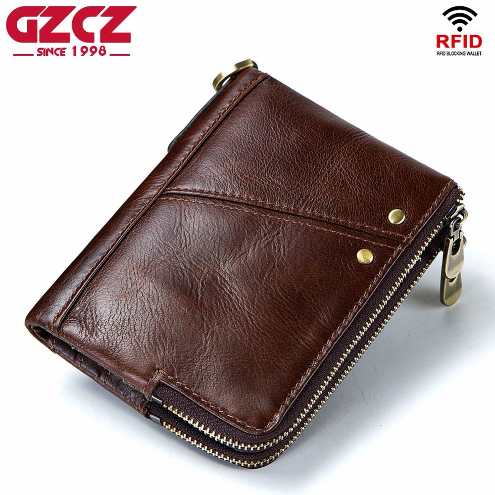 GZCZ Luxury Brand Wallet Men Zipper Design 2018 Men's Genuine Leather Vallet Mini Coin Purse Crazy Horse Male Walet For Rfid gzcz genuine leather wallet men zipper design bifold short male clutch with card holder mini coin purse crazy horse portfolio