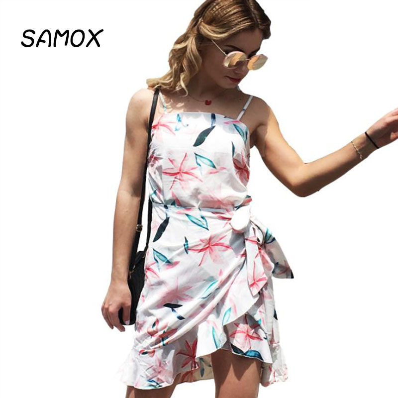 JSMY 2019 New Summer Fashion Women Sexy Printing Sling Irregular Beach Holiday Dress