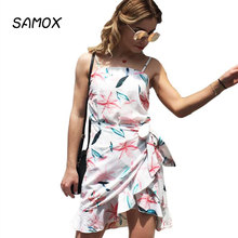 JSMY 2019 New Summer Fashion Women Sexy Printing Sling Irregular Beach Holiday Dress