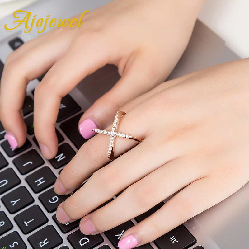 Ajojewel New Fashion Open Ring Women Micro Pave CZ Ladies Cross Rings - Նորաձև զարդեր - Լուսանկար 5