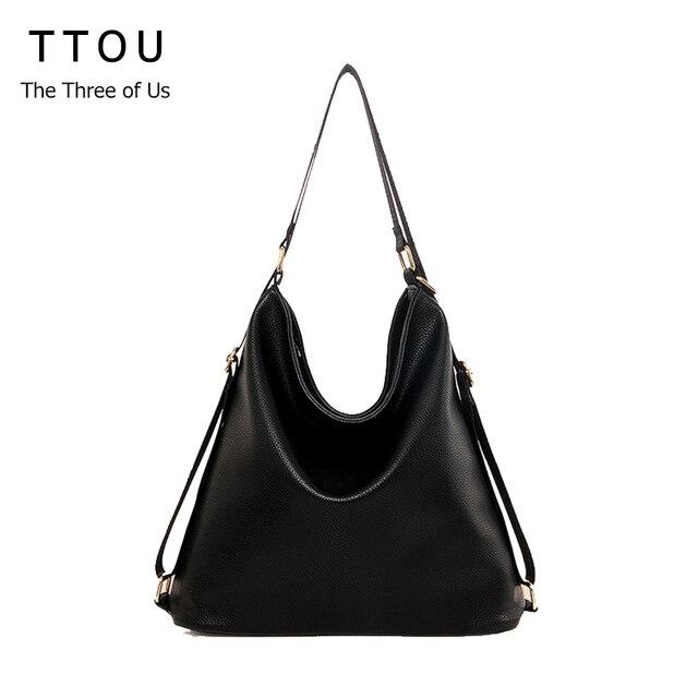 TTOU kulit bahu tas besar perempuan tas wanita warna hitam kedatangan baru  totes tas wanita gelandangan 90851e3812