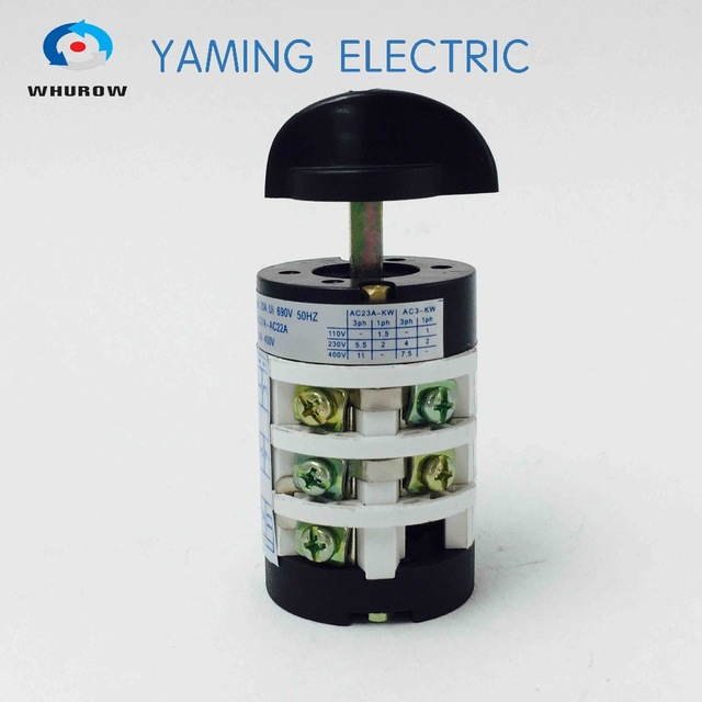 hz5b-20/3 motor reversing switch on/off/on 20a 3 pole use for tire changer  machine rotary combination changeover cam switch