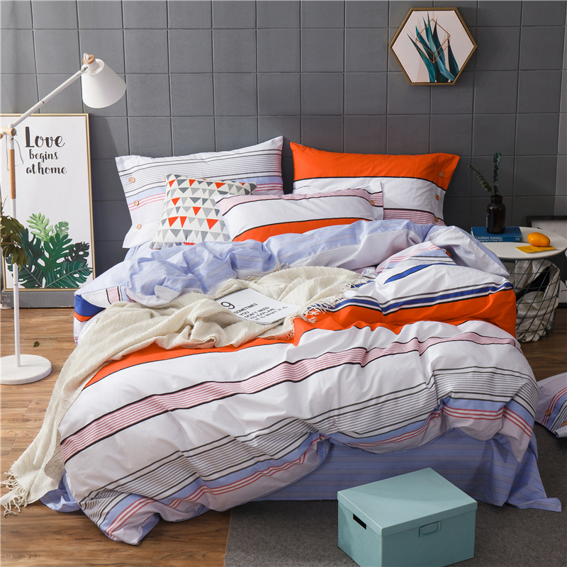 Fashion stripes flowers 100% Cotton Printed Bedding Set 3/4Pcs Duvet cover set Bed Sheet Fitted Sheet Pillowcases Twin Queen KinFashion stripes flowers 100% Cotton Printed Bedding Set 3/4Pcs Duvet cover set Bed Sheet Fitted Sheet Pillowcases Twin Queen Kin