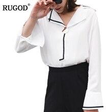 RUGOD Women's Shirts 2018 New Sleepwear Style White Long-sleeved Chiffon Blouses Slim Basic Tops Plus Size Female High Quality