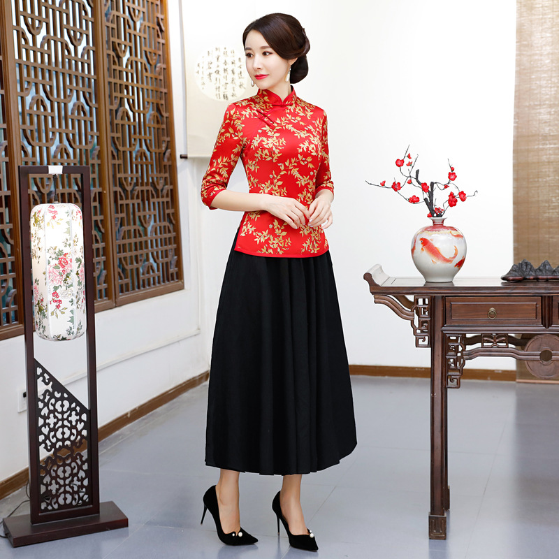 2018 New Spring Womens Blouse Skirt Sets Traditional Chinese 2pc Shirt Mandarin Collar Cheongsam Button Dress Plus Size S-XXXXL