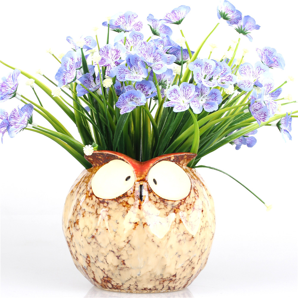 Retro Owl Shape Large Ceramic Decorative Flower Pots Nursery Succulent Plant Planter Ornamental Flowerpot Bonsai Pot