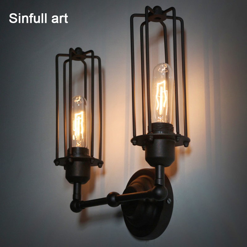 American retro wall light rural industrial double head wall lamp indoor stair hallway black sconce E27 Edison bedside lighting american rural retro wall lamp nordic industrial loft sconce creative restaurant bar aisle bedside lamp outdoor wall light e27
