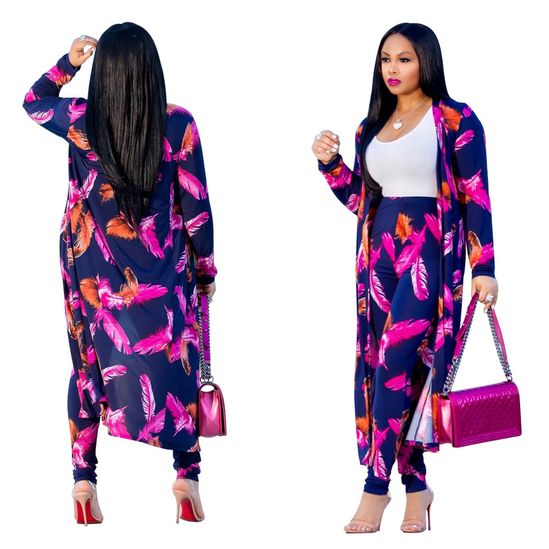 2018 Autumn Winter Feather Print Full Sleeve Women Set top+Pants+coat Lady fashion sexy 3 pieces suits casual tracksuit