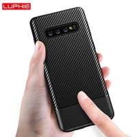 LUPHIE luksusowe etui do Samsung Galaxy S10 Plus S10e przypadkach z włókna węglowego pokrowiec teksturowy dla Samsung S10 Plus silikonowe etui Coque