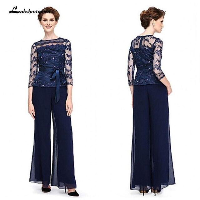 2018 Elegant Navy Blue Mother Of The Bride Dresses Chiffon Pants