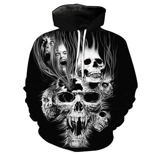 Cool Skull Printed Hoodies 3D Men Women Fashion Sweatshirts Hooded Tracksuits Male Pullo ...