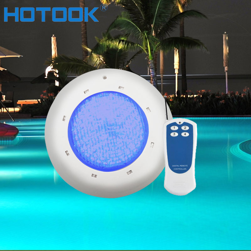 HOTOOK Underwater Light RGB IP68 Waterproof Surface Mounted LED Swimming Pool Lights  Pond Fountain Lamp With Remote Controller 16w led rgb underwater light waterproof ip68 fountain swimming pool lamp colorful change with 24key ir remote