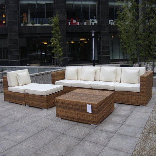 5 Pcs PE Rattan Sofa With Side Sofa , Middle Sofa , Ottoman , Coffee