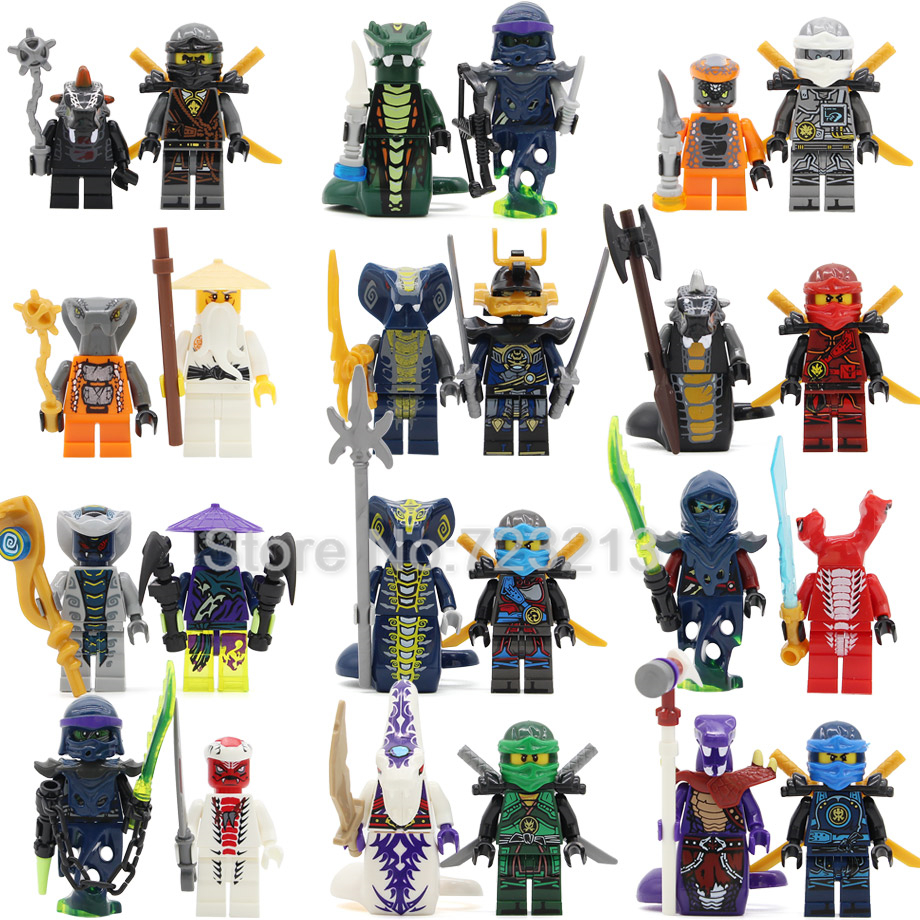 Single Sale 2pcs/lot Ninja Figure Set Snake Pythor KAI JAY COLE ZANE Lloyd Sensei Wu NYA Building Blocks Toys for Children ninjagoeingly cole jay cole zane lloyd sensei wu nya lloyd nadakhan dogshank blocks toys for childre compatible with legoeinglys
