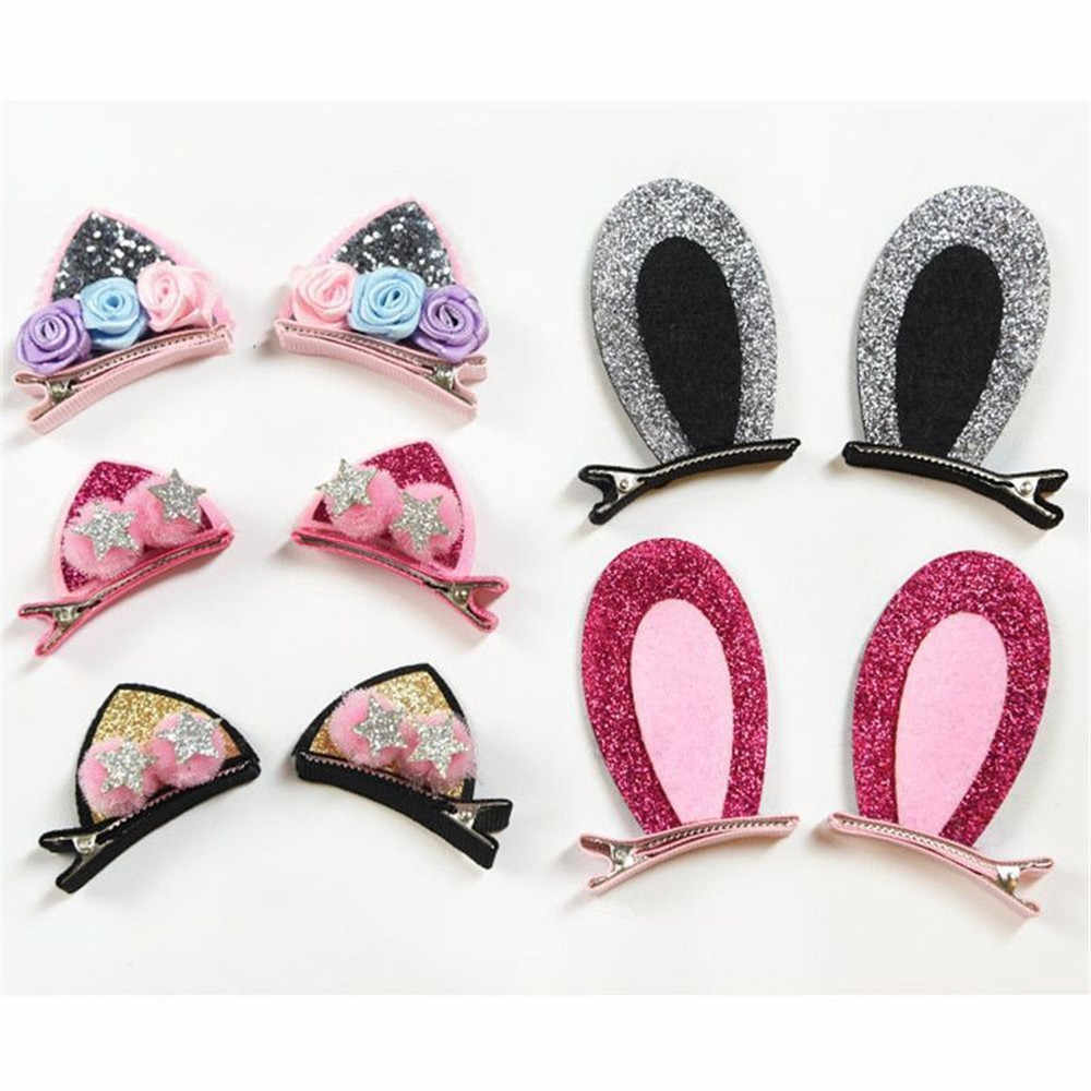 2 PCS New Cute Hair Clips For Girls Glitter Rainbow Star Felt Fabric Flowers Sequins Hairpins Cat Ears Bunny Barrettes For Kids
