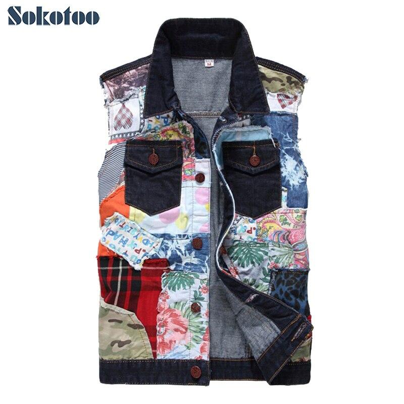 Sokotoo men 39 s fashion patch design denim vest casual for Mens sleeveless denim shirt wholesale