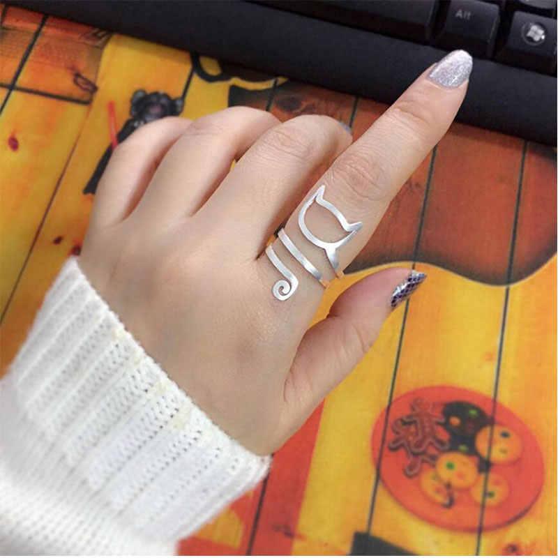 Anenjery индивидуальный дизайн 925 стерлингового серебра обернуть вокруг кота кольца для женщин Девушка ювелирные изделия anillos Размер 18 мм S-R280