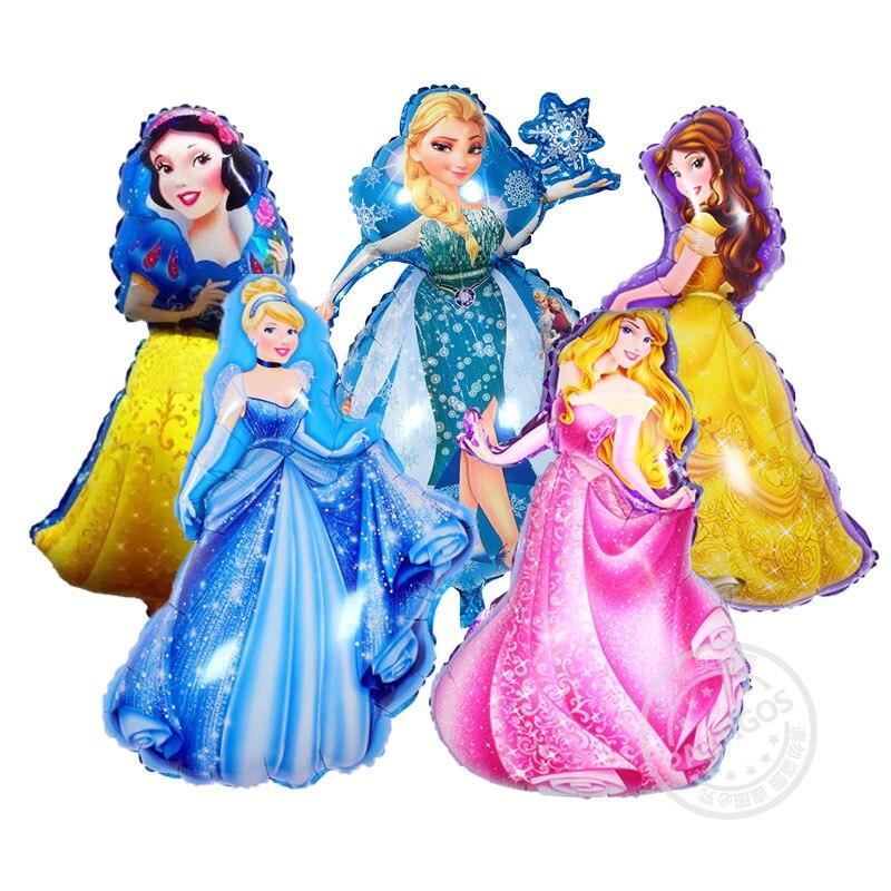 5pcs/lot large Cinderella& Aurora &Belle & Snow White &Elsa five princess foil b
