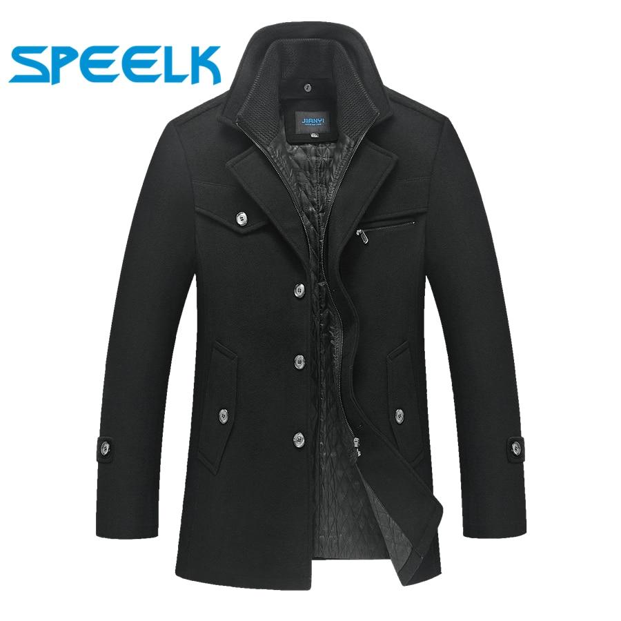 2019 New Brand Jackets Men Double-neck Woolen Coat Mens Winter Thick Jacket Male Slim Fit Outwear Size 5XL