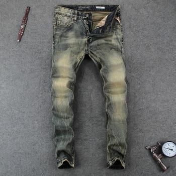 цена на Italian Vintage Designer Men Jeans Slim Fit Denim Button Fly Classical Jeans Homme Cotton Pants Simple Style Brand Jeans Men