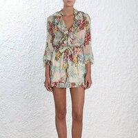 Шелковые Летние Whitewave рябить Playsuit Для женщин цветочные длинным рукавом кисточкой галстук глубоким v образным вырезом пикантные Повседневно
