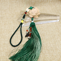 HandMade Huangyang Wooden Carved Lotus Bodhi beads Tassel jewelry craft findings Car decoration