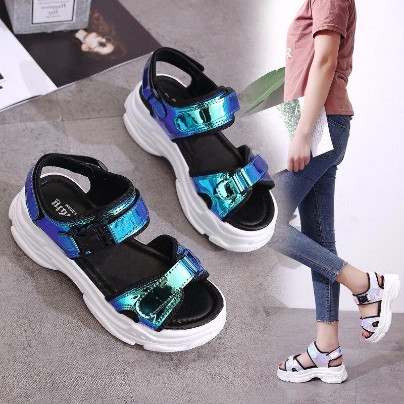 HTB1SrcjMYvpK1RjSZFqq6AXUVXaN Sexy Open-toed Women Sport Sandals Wedge Hollow Out Women Sandals Outdoor Cool Platform Shoes Women Beach Summer Shoes 2019 New