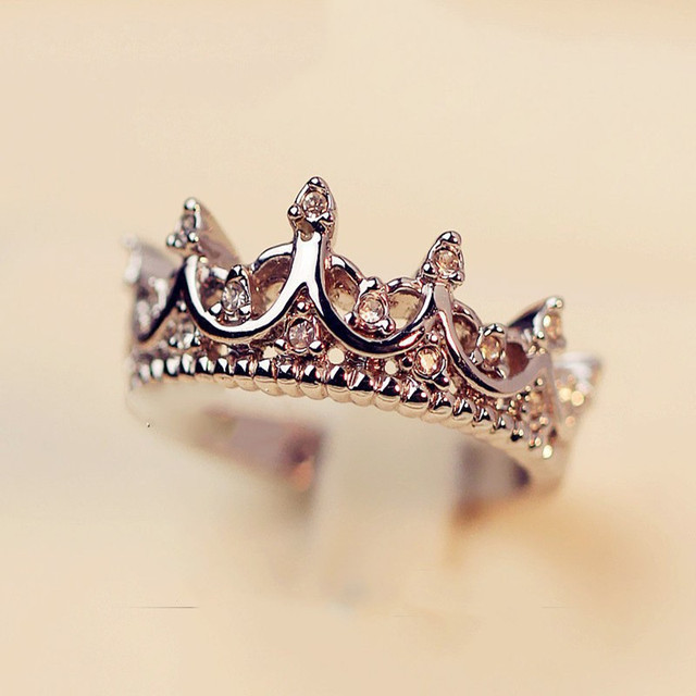 princess queen crown ring design wedding rings for women jewelry rose gold and silver plated crystal - Crown Wedding Rings
