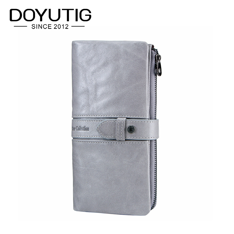 DOYUTIG Brand Grey Color Lady Wallets 100% Genuine Cowhide Leather High Quality Women Long Wallet Coin Purse Vintage Wallet A181 new luxury brand 100% top genuine cowhide leather high quality men long wallet coin purse vintage designer male carteira wallets