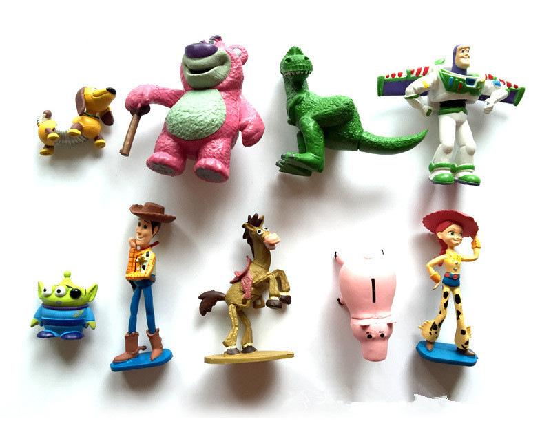 Anime Figure 9PCS/SET Toy Story 3 Buzz Lightyear Woody Jessie PVC Action Figure Collectible Model Toy Kids Gifts original toy story 3 buzz lightyear robot light voice elastic wings 30cm action music anime figure kids toys for children p2