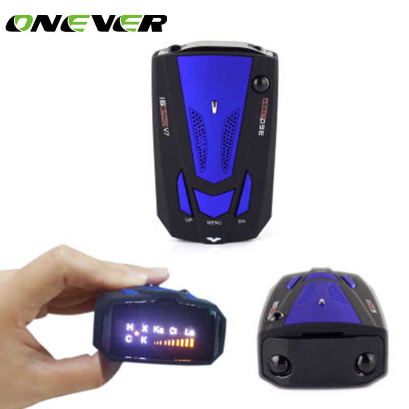 Onever New Car Radar detector for Vehicle V7  Russian voice alert Warning 360 Degree 16 Band Car Anti Radar detector LED display