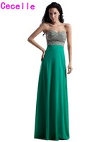Robe De Soiree 2017 Green Chiffon Long Formal Evening Dresses For Teens Girl Sweetheart Beaded Crystals
