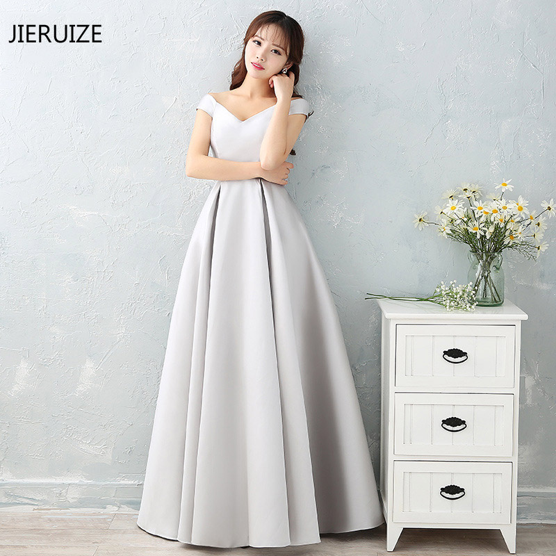 JIERUIZE Silver Cap Sleeves Cheap   Evening     Dresses   Long 2018 V-neck A-line Long Prom   Dresses   Party   Dresses   robe longue