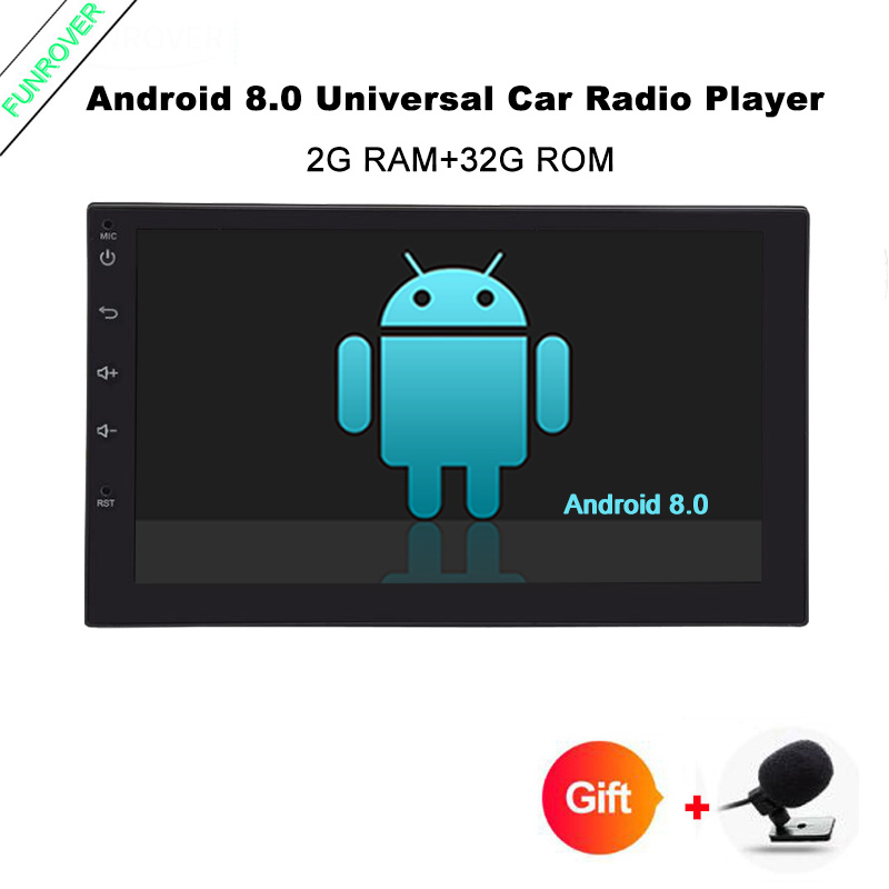Funrover Android 8.0 Quad Core Car dvd GPS Player 2 din radio universal Navigation Wifi mulitimedia rds usb navi FM 110mm depth sony shake x1d