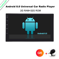 Funrover Android Quad Core Car GPS android 8.0 Player 2 din radio universal Navigations with Wifi GPS 2 DIN AUTO 110mm dashboard