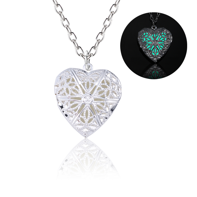 3D Silver Necklace For Women Luminous Nightlight Necklace Hollow Heart Necklaces Can Open Charm Choker Girls Favourite Gifts
