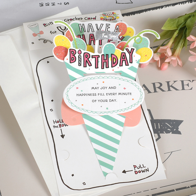 Cute Pop Up Card For Birthday 3D Greeting Kids Cracker Party
