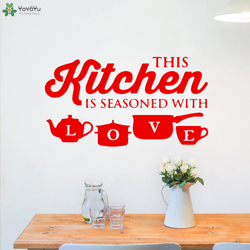 YOYOYU Wall Decal Kitchen Pot Cup Love Wall Sticker Houseware Modern Design Art Mural Adhesive Home Decoration Quote PosterCT643