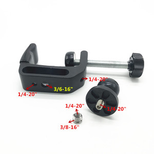 Image 3 - Abrazadera de montaje en C cabeza de bola de goma con adaptador de tornillo 1/4 para postes de rieles Gopro barra soportes de micrófono de música soporte ram