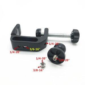 Image 3 - C Montar Braçadeira Trilhos de Borracha Bola de Cabeça com 1/4 Adapter Screw para Gopro Pólos Bar Música Microfone Microfone Fica ram montar