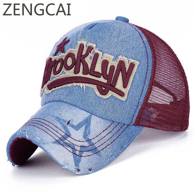 Summer Baseball Caps For Women Brooklyn Mesh Denim Hat Fashion Hip Hop Girls Hats Breathable Outdoor Men Snapback Trucker Cap 2018 cc denim ponytail baseball cap snapback dad hat women summer mesh trucker hats messy bun sequin shine hip hop caps casual