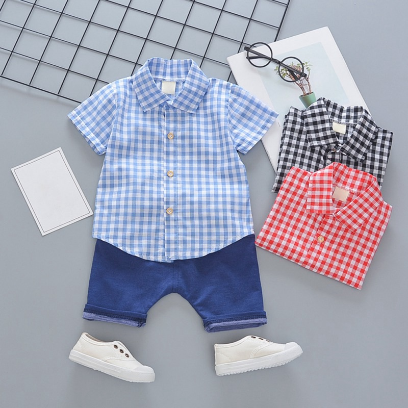 Toddler Boys Plaid Print Short Sleeve Tops with Shorts Outfit 24