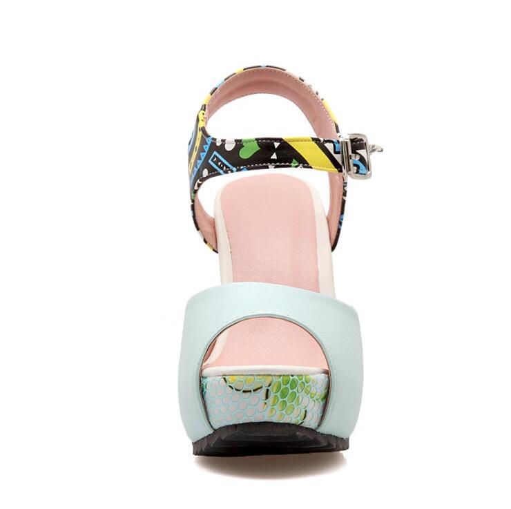 Toe Strand Womens Dicke Böhmen Floral Für Frauen Schuhe Kruste New Süße Keil Wasserdichte pink Weibliche Blue white Sandalen Peep High Heels Plattform qtxz6wd