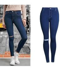 2017 Women Fashion High Waist Slim Jeans Hole Plus Size Vintage Skinny Jeans Casual Cotton Elastic Denim Pencil Pants WJNSL017
