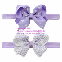 200pcs/lot Headband Bow Purple Grosgrain 4 Inch Twisted Boutique Bow Headband Polka dot and Plover case