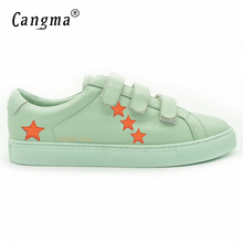 CANGMA 2017 Italy Deluxe Brand Superstar Men Fashion Shoes Sheepskin Casual Magic Sticker Green Shoes Male Schoenen Heren Leder