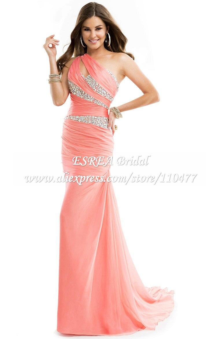 Nueva moda de un hombro sirena vestidos noche amarillo largo Prom ...
