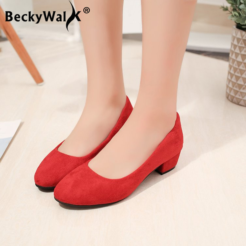 Autumn Shoes Woman Pumps Low Thick Heels Comfortable Women Work Shoes Flock Round Toe Casual Ladies Shoe Sapato Feminino WSH3183