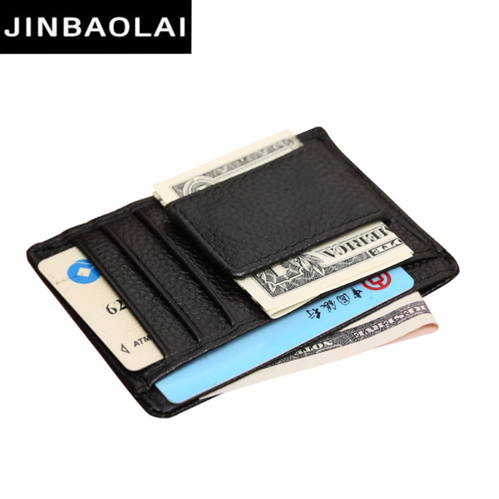 2018 JINBAOLAI Card Wallet Genuine Cow Leather Photo Holder ID Card holder Small Male wallet High Quality Brand Luxury Men Purse